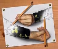 Mani impossibili con le matite immagini stock libere da diritti