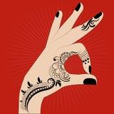 Mani indiane della pittura Fotografie Stock