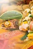 Mani indiane della sposa, fuoco molle fotografia stock