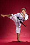 Mani in karate kimono kicking  Stock Photography