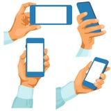 Mani maschii con i telefoni in loro Illustrazione Vettoriale