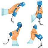 Mani maschii con i telefoni in loro Illustrazione di Stock