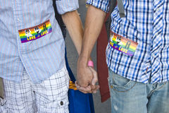 Mani maschii della holding delle coppie Immagine Stock Libera da Diritti