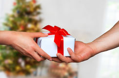 Mani maschii e femminili con il contenitore di regalo bianco con un arco Immagini Stock