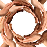 Mani Multiracial che fanno un cerchio Fotografie Stock Libere da Diritti