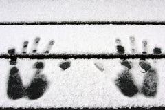 Mani nella neve Fotografia Stock