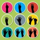 Mani nere che contano 1 - 9 con l'icona delle dita Immagini Stock