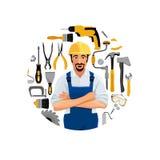 Mani piegate condizione del lavoratore con gli strumenti della costruzione Fotografia Stock Libera da Diritti