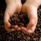 Mani in pieno di caffè Fotografia Stock Libera da Diritti