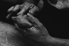 Mani pittore e scultore Immagini Stock