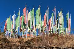 Mani prayar flags. Za-Sa monastery buddhism in Nepal Royalty Free Stock Images