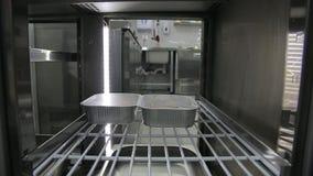 Mani principali che prendono contenitore con alimento in frigorifero Stile di vita sano, alimento di dieta archivi video