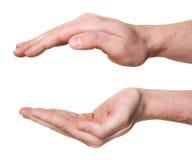 Mani proteggenti isolate su priorità bassa bianca Fotografie Stock