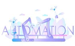 Mani robot e nastro trasportatore, controllati dall'ingegnere Automazione di fabbrica, industria 4 illustrazione di stock