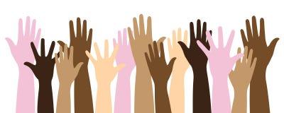 Mani sollevate multicolori illustrazione vettoriale