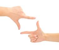 Mani sotto forma del blocco per grafici Fotografie Stock Libere da Diritti