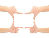 Mani sotto forma del blocco per grafici Fotografia Stock Libera da Diritti