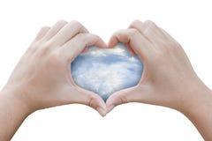 Mani sotto forma di cuore con il cielo Fotografia Stock Libera da Diritti