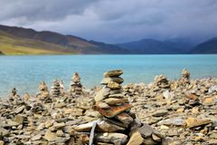Mani stone heaps at Namtso Lake, Tibet Royalty Free Stock Photography
