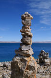 Mani-stoneheap At Namtso-lake Royalty Free Stock Photos