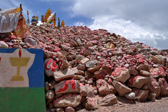 Mani stones in the Nangqian of Qinghai royalty free stock images
