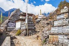 Mani stones. Om mani padme hum stones, Everest trek, Himalaya, Nepal Royalty Free Stock Photo