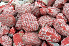 Mani stones with Six-word Theory Royalty Free Stock Images
