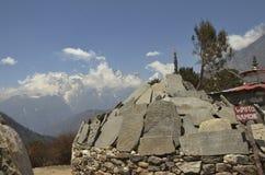 Mani Stones an Tengboche-Kloster lizenzfreie stockbilder