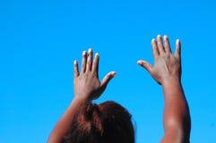 Mani in su Immagini Stock Libere da Diritti