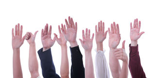 Mani in su Immagine Stock Libera da Diritti