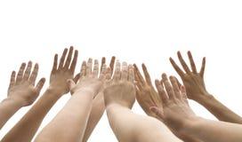 Mani in su alzate Fotografia Stock