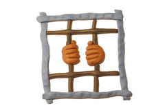 Mani sulle barre della prigione Fotografia Stock Libera da Diritti