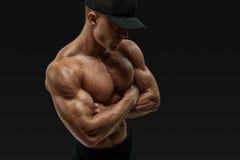 Mani trasversali dell'atleta Fotografia Stock Libera da Diritti