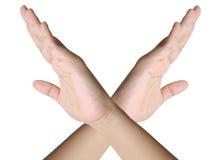 Mani trasversali della donna Fotografie Stock Libere da Diritti