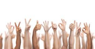 Mani umane che mostrano i pollici su, okay e segni di pace Fotografie Stock