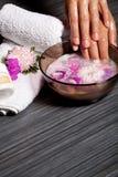 Mani umane in ciotola con petrolio ed il fiore Fotografia Stock Libera da Diritti