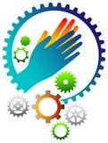 Mani umane con l'immagine di vettore della ruota dentata illustrazione di stock