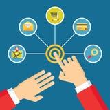 Mani umane - illustrazione di concetto di tocco con le icone nello stile piano di progettazione Fotografia Stock Libera da Diritti