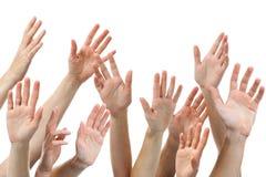 Mani umane sollevate Fotografia Stock Libera da Diritti