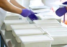 Mani in una fabbrica dell'alimento Fotografia Stock Libera da Diritti