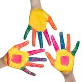 Mani variopinte, bambini divertimento e concetto di svago Immagini Stock