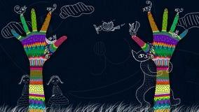 Mani variopinte che raggiungono sull'albero astratto illustrazione di stock