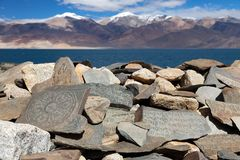Free Mani Wall And Tso Moriri Lake - Ladakh - India Royalty Free Stock Photography - 37577017
