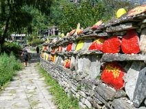 Mani Wall In Thoche, Nepal Stock Photos
