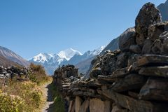 Mani Wall in Langtang Valley, Langtang National Park, Rasuwa Dsitrict, Nepal Stock Image