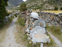 Mani Wall near Ngawal Stock Photography