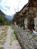 Mani wall near Pisang village Stock Images