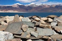 Mani wall and Tso Moriri lake - Ladakh - india Royalty Free Stock Photography