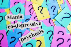 Mania co-depressive psychosis Syndrome text on colorful sticky notes Against the background of question marks Royalty Free Stock Photography