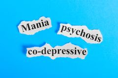 Mania co-depressive psychosis text on paper. Word Mania co-depressive psychosis on a piece of paper. Concept Image. Mania co-depre Stock Photos
